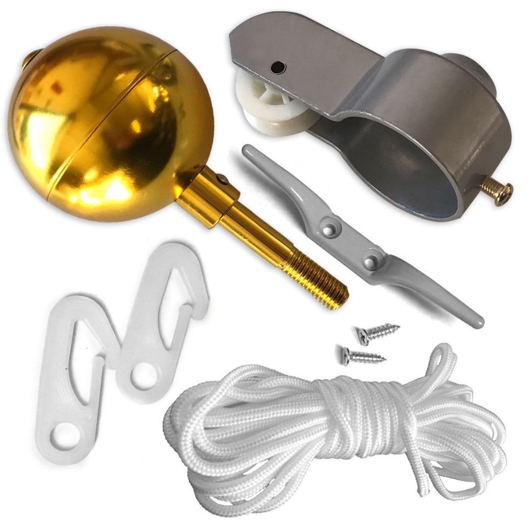 10 Uds. Juego de piezas de asta de bandera cuerda trenzada de nailon, accesorios para mástil, Kit de reparación, polea, pinza de bola dorada, tornillos decorativos de 2 pulgadas