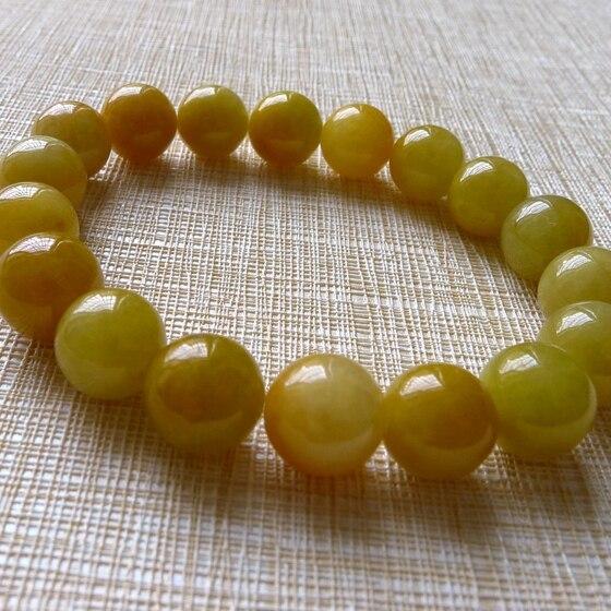 Pulsera de jade Natural amarilla de Birmania para mujer, pulsera de perlas de Jadeita de 10mm, pulsera de mujer, brazalete de jade de piedra de jade natural