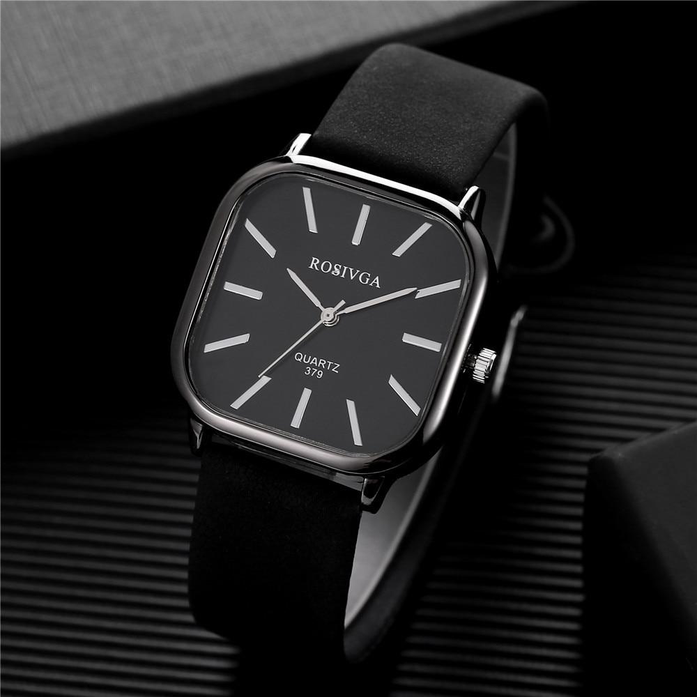 New Fashion Men Square Watch Luxury Men PU Business Quartz Wristwatch Simple Style Male Watch Clock Relogio Masculino C297