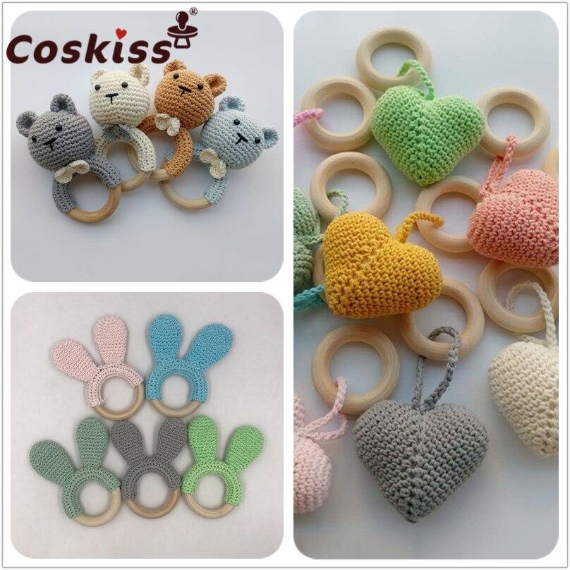 Мобиль Coskiss для детской безопасный Прорезыватель для зубов, деревянная игрушка, кольцо «сделай сам» для детской коляски, связанная крючком ...