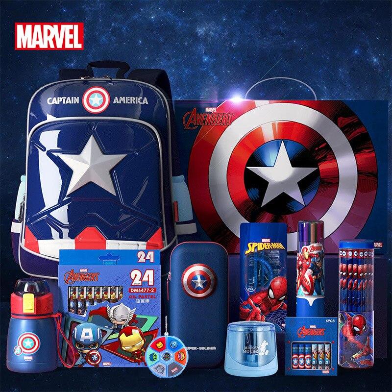 Authentic Disney Marvel Schoolbag Elementary School Boys Ultralight 1-6 Grade Boys Captain America Boys Children