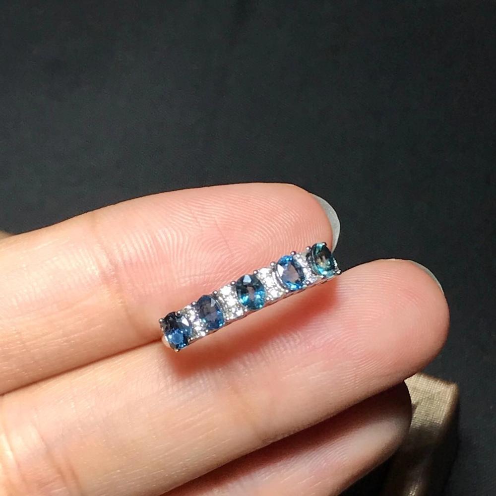 جديد الطبيعية خاتم من الياقوت الأزرق المرأة 925 الفضة صغيرة وبسيطة نمط مجوهرات للشباب الاحتياجات اليومية