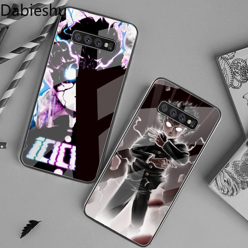 Mob psycho 100 anime diy capa de telefone escudo vidro temperado para samsung s20 plus s7 s8 s9 s10 plus nota 8 9 10 plus