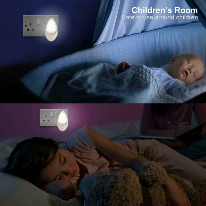 LED Water Drop Shape Lamp Smart Automatic Adjustment Night Light Children Bedroom Lamp Sensor Wall Socket Bedside Stair Lighting  - buy with discount