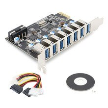 Super prędkość PCIE 7 portów USB 3.0 karta adaptera z 4PIN IDE złącze zasilania Molex do projektora NEC kontrolera hosta PCI-E expresscard