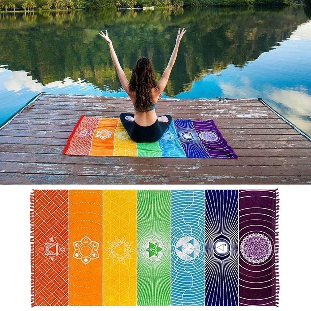 Colgante para pared de macramé India manta de Mandala poliéster tapiz de colores alfombra rayas playa de 2020 arcoiris, chakras 7 Yoga de P2I2