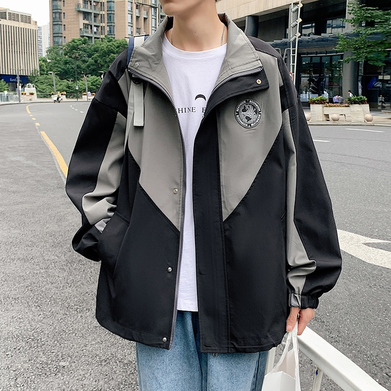 وصل حديثًا لعام 2021 معاطف هاراجوكو هيب هوب رجالي كبيرة الحجم مضادة للرياح سترة واقية كورية عالية الشارع