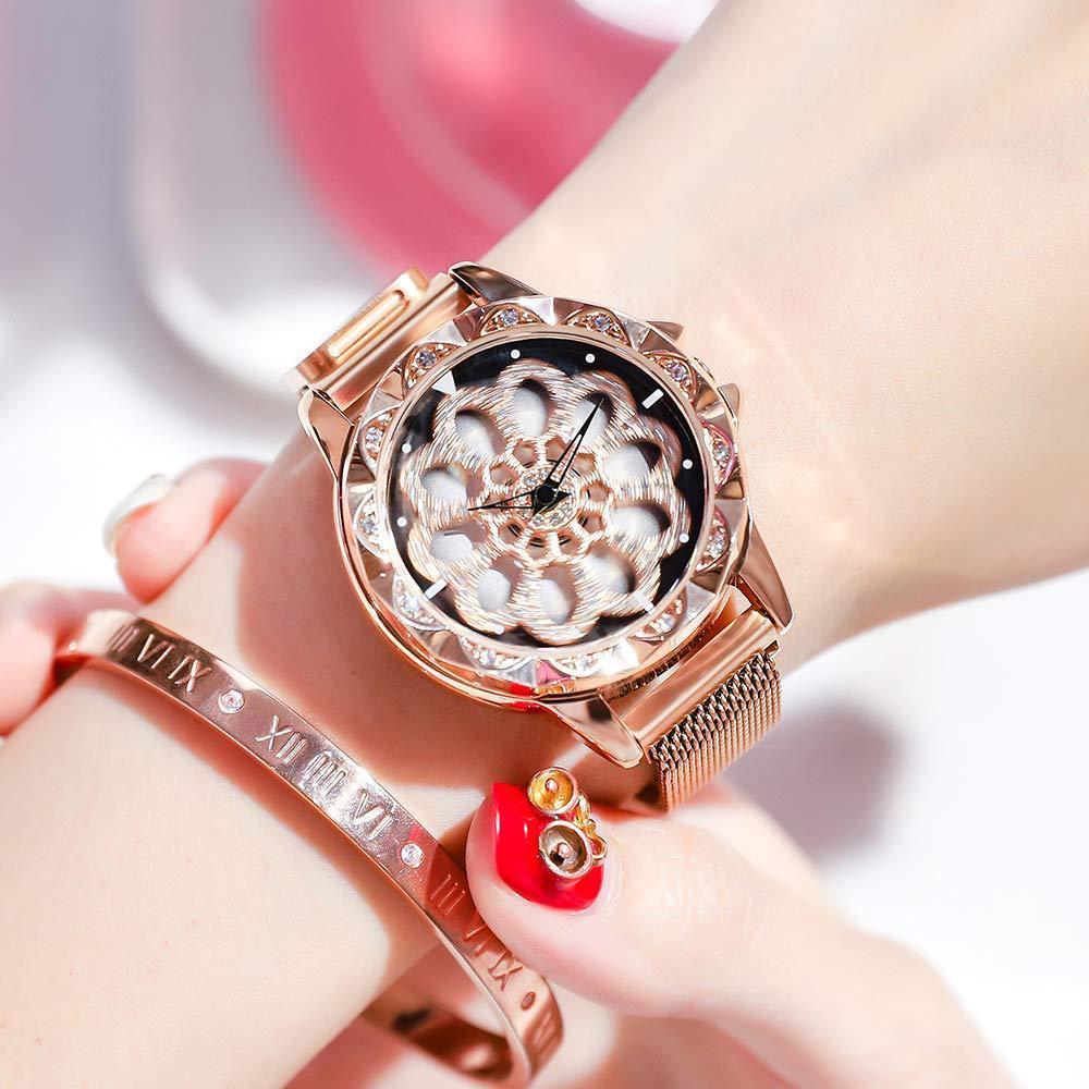 Nueva llegada señoras reloj de lujo Rosa oro giratoria caja de reloj de cuarzo de moda magnética reloj часы женские relojes de mujer, reloj
