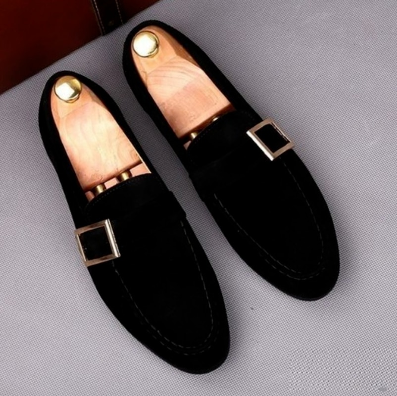 Men Dress Shoes Casual Business Fashion Suede  Leather Low Heel British Style Classic Trendy Loafers
