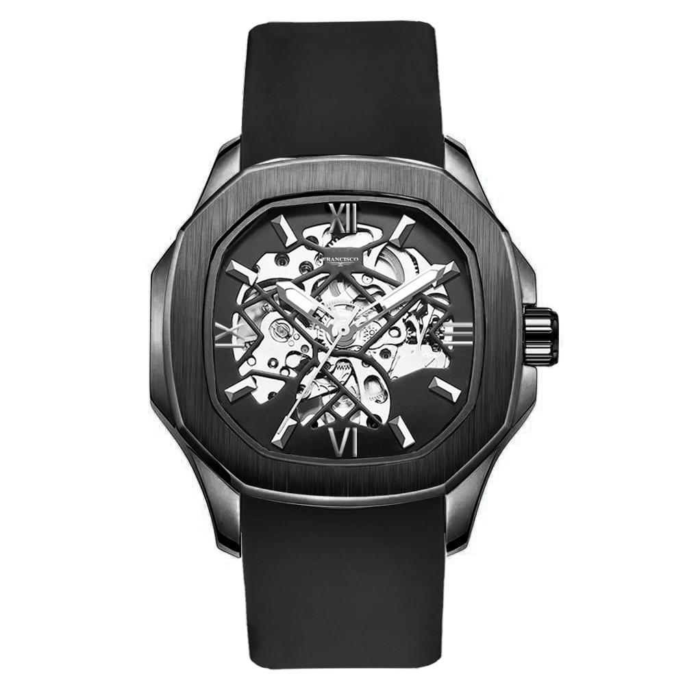 فرانسيسكو ساعة رياضية للرجال الفولاذ المقاوم للصدأ سيليكون حزام مقاوم للماء الرومانية مضيئة الهيكل العظمي التلقائي ساعة اليد الميكانيكية