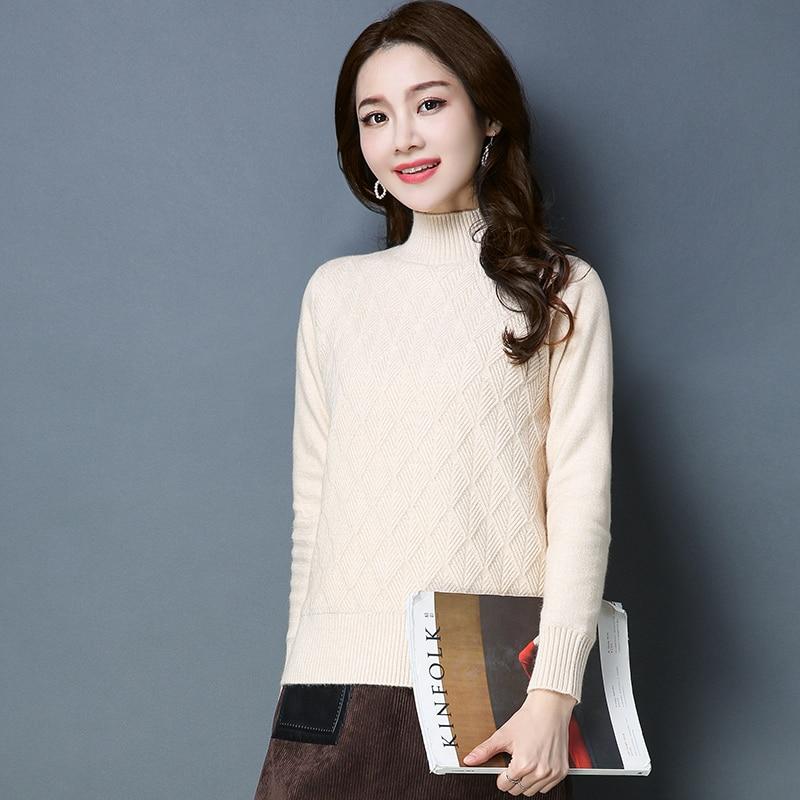 ¡Novedad de Otoño/Invierno! Jersey de cuello alto corto, suéter de mujer de Otoño/Invierno que combina con todo, suéter cálido de cuello alto por el trasero.