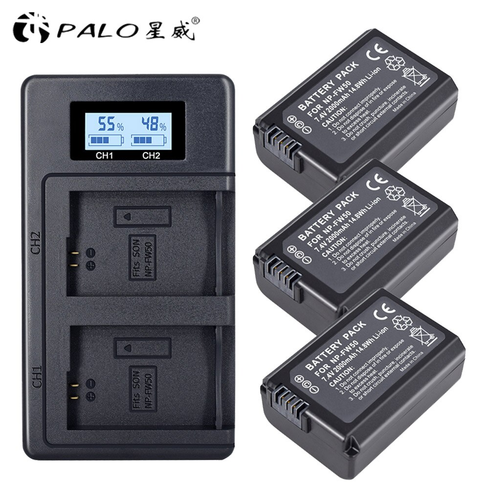 PALO 2000mAh NP-FW50 NP FW50 NPFW50 batería Akku + LCD para Sony...