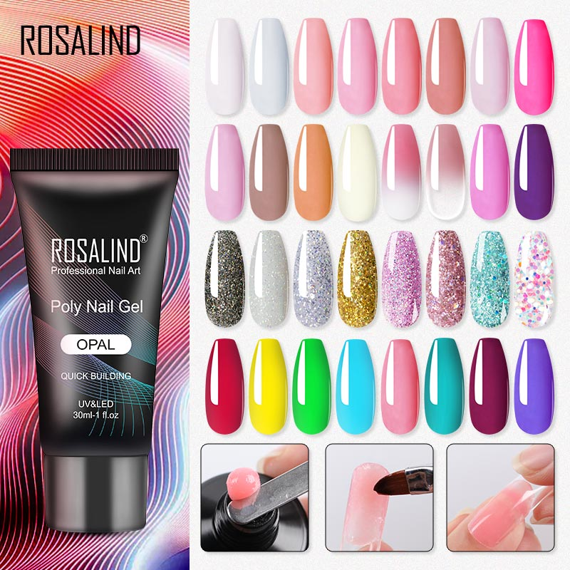 AliExpress - ROSALIND 30ML Poly Nail Gel Polish Extension Finger Nail Art Manicure Acryl Gel Semi Permanent Varnish Hybrid UV Building Gel