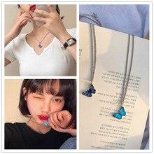 Collier Kpop avec pendentif en forme de papillon, Harajuku, collier de chaîne, en alliage, pour femmes et filles, bijoux esthétiques, tendance, 2020