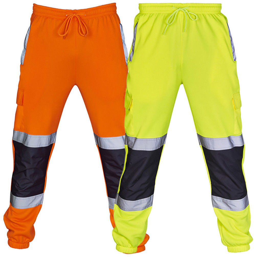 Зеленые спортивные джоггеры, желтые, оранжевые, новые флисовые джоггеры, рабочие осенние флуоресцентные черные брюки, мужские спортивные т...