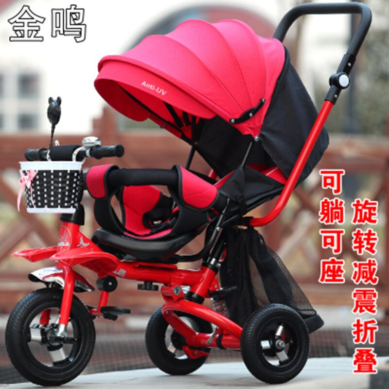 Swivel Seat Baby Stroller 3 In 1 Folding Portable Baby Tricycle Children Bicycle Shock Absorption Can Lie Trike Trolley 6M~5Y