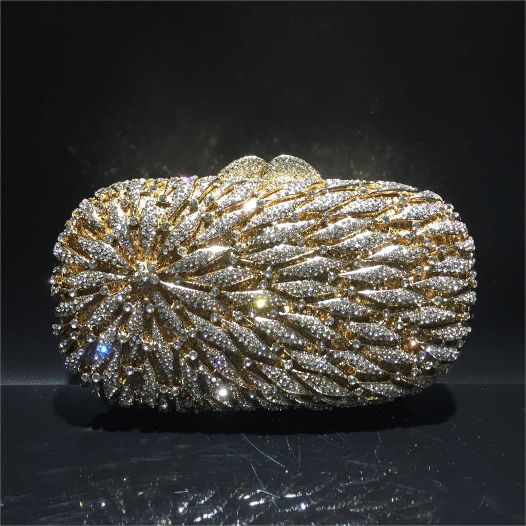 حقيبة كلاتش من حجر الراين 19 × 11 سنتيمتر ، حقيبة سهرة معدنية مجوفة ، صناعة يدوية ، ألماس ، a6916