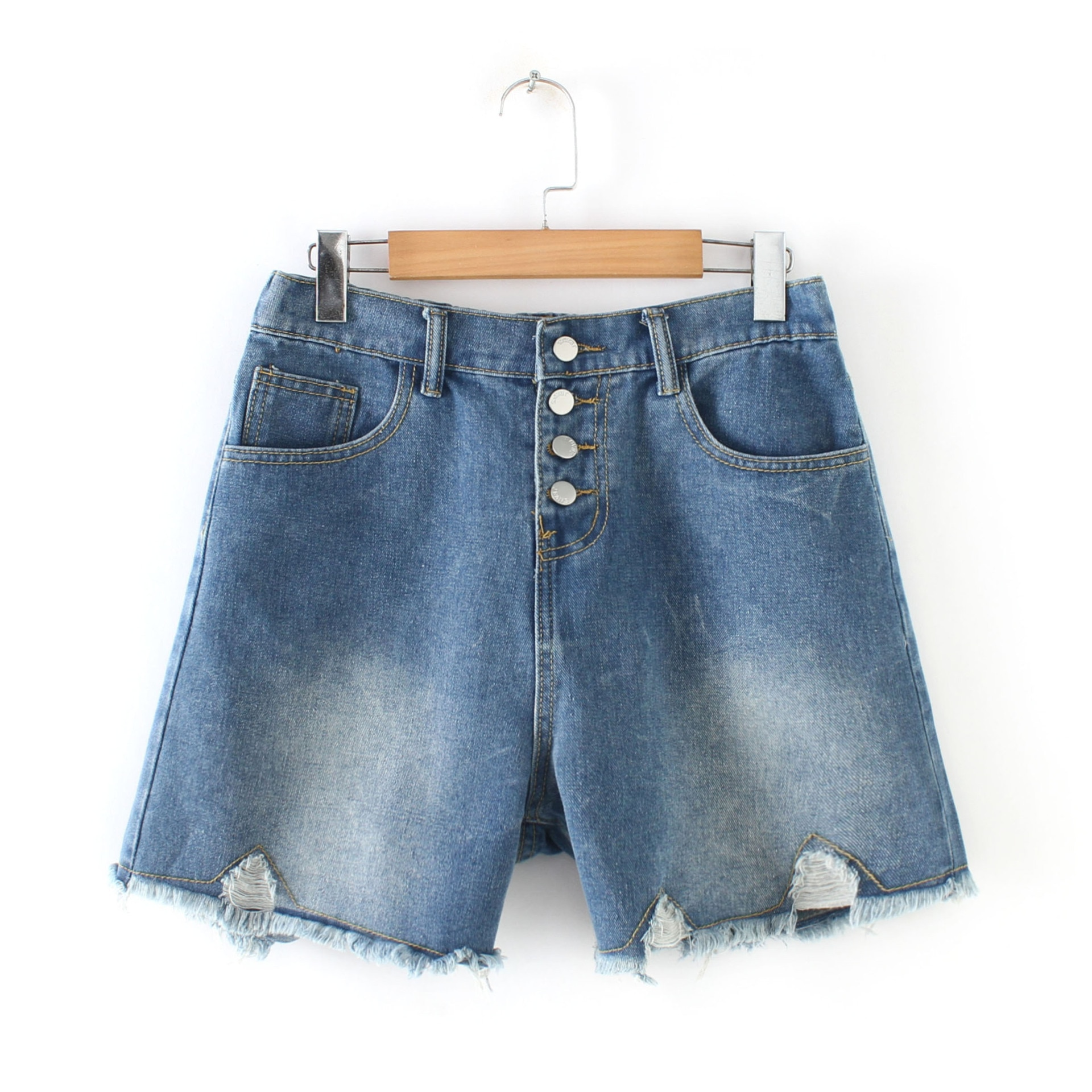 Verano 2019 vestido de gran tamaño Fat Mm moda si li kou con agujeros pantalones cortos de mezclilla deshilachados pantalones calientes de una generación de grasa