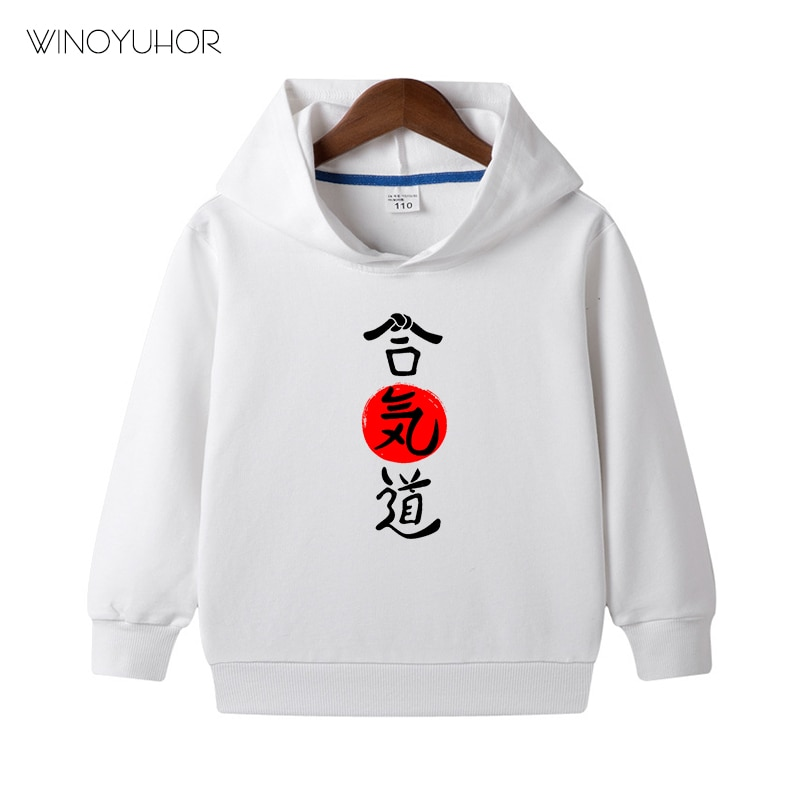 Kanji Aikido Hoodies Kids Boys Casual Cotton Long Sleeved Pullovers For Baby Girls Martial Arts Clot