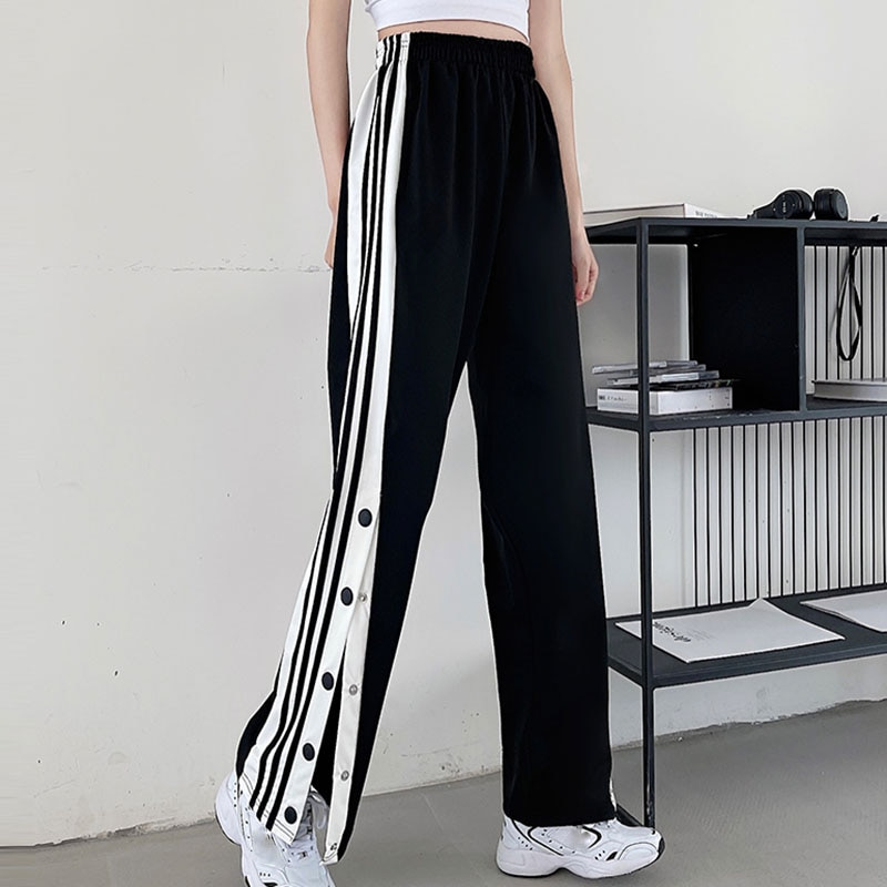 2021 Women Joggers Sweatpants Casual Wide Leg Pants Women Stripe Hip Hop Sweat Pants Streetwear Women Button Trousers Vintage