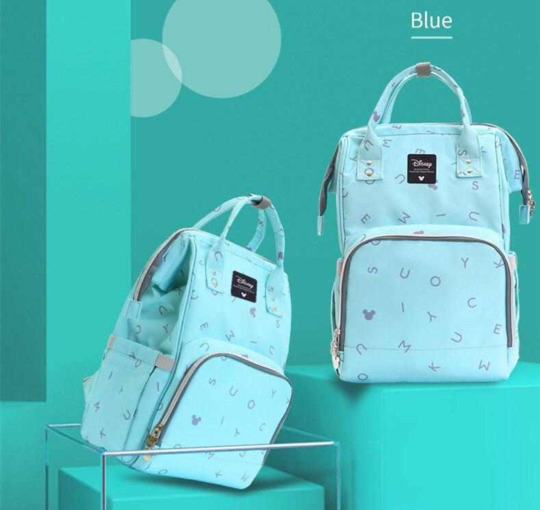 Bolsa de pañales de mamá Disney, mochila de pañal de aislamiento para bebé nacido mamá papá, bolsos de hombro con calentador USB, ganchos de cochecito de bebé DPB43