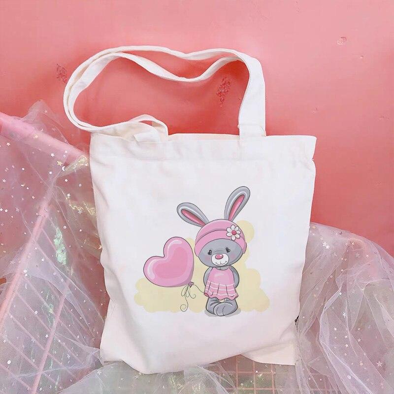 Cinza tímido coelho e amor dos desenhos animados sacos de lona harajuku bonito estudante saco de compras coreano bolsa grande bolsa feminina carteira