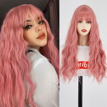 Long Mix Pink Womens Wigs With Bangs Heat Resistant Synthetic Kinky Curly Orange Gold Wigs for Women African American