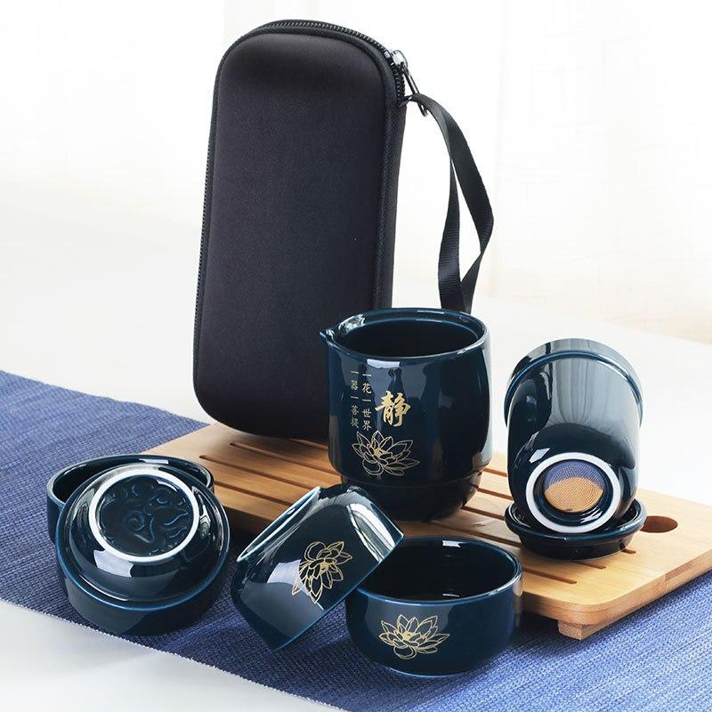 طقم شاي بورسلين صيني عالي الجودة ، أكواب محمولة للسفر مع حقيبة سفر ، طقم شاي من السيراميك ، زجاجة سيراميك خارجية