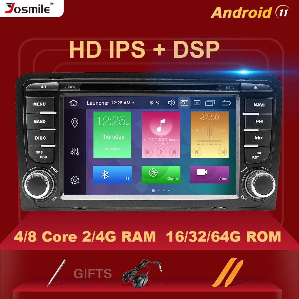 HD IPS DSP 4 جيجابايت 2 الدين أندرويد 11 مشغل أسطوانات للسيارة لاعب لأودي A3 8P S3 2003-2012 RS3 Sportback الوسائط المتعددة ستيريو Carplay كاميرا خلفية