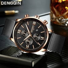 DENGQIN Men's Wrist Watch Stainless Steel Casual Quartz Analog Date Watch Man watches mens 2020 men