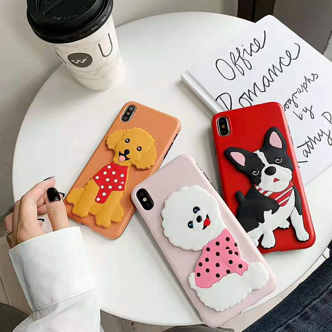 Funda para teléfono móvil 3D dibujo bulldog que oso poodle para iPhone 7 6S 8 Plus X XS XR cubierta suave con soporte máximo para perro mascota IMD