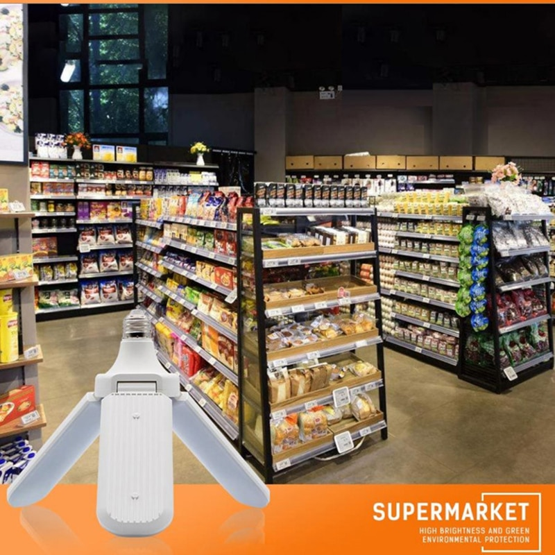 E27 LED Light Bulb With 228 Leds Fan Blades Folding Light Support Radar Sensor Corridor LED Lamp  For Outdoor Garage Shop