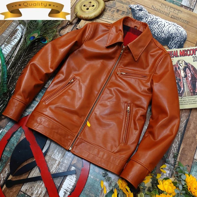 Jacket Cow Leather Genuine Men Clothing High Quality Real Cowhide Leather Coat Brown Spring Autumn Chaqueta De Cuero Hombre KJ