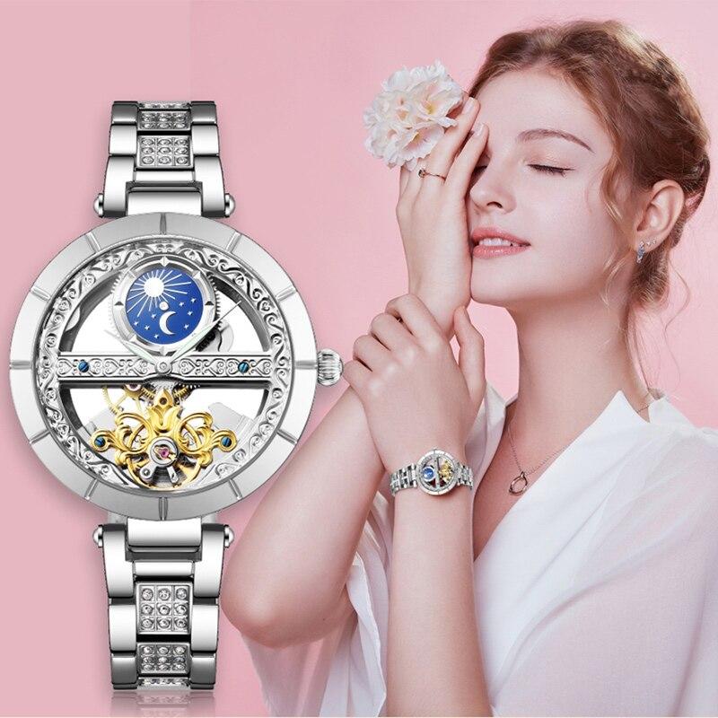 Top Brand Women Mechanical Watches Fashion Luxury Hollow Design Automatic Watch Girls Gift Ladies Wristwatch Relogio Masculino enlarge