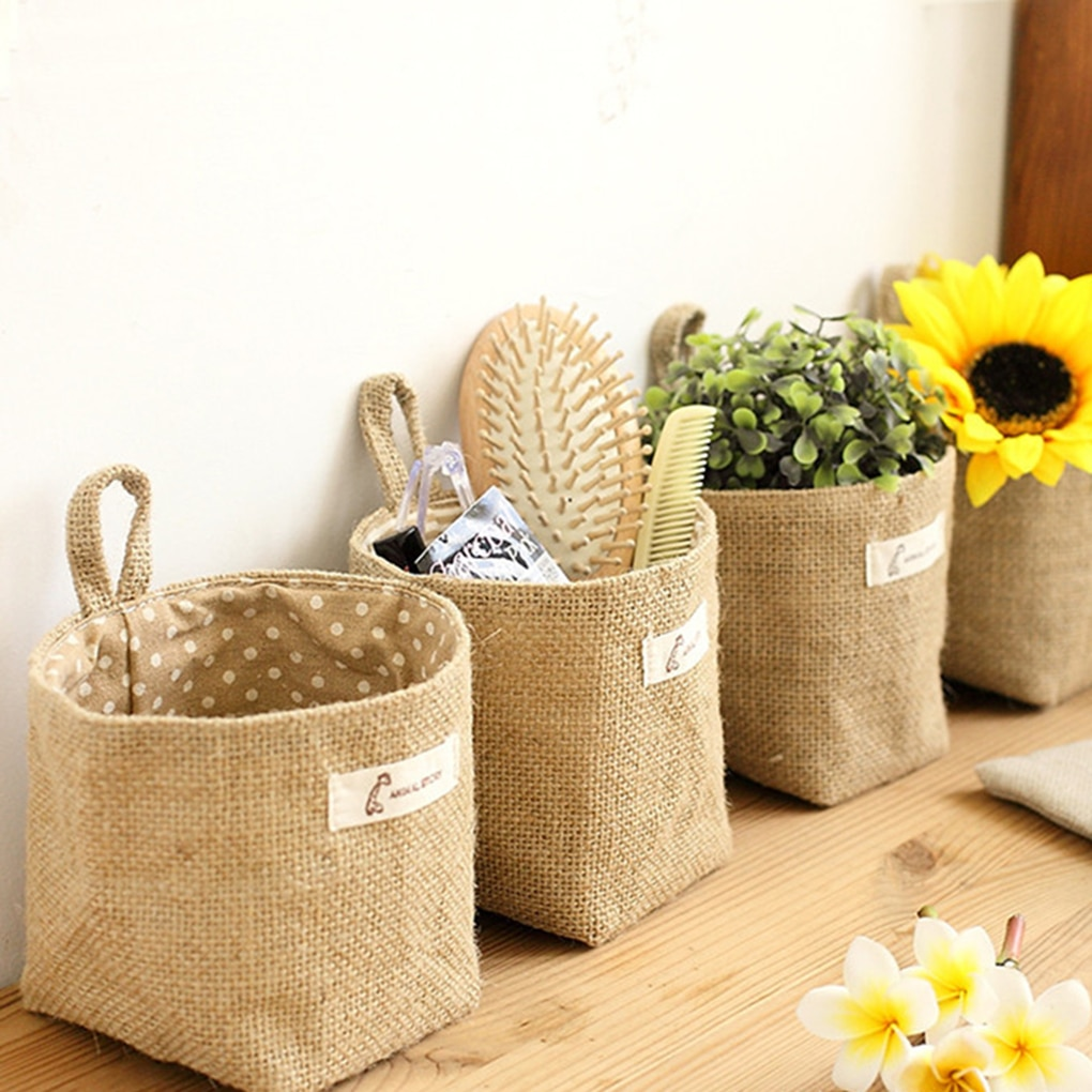Small Sack Sundries Organizer Cosmetic Organizer Cotton Linen Storage Bag Hanging Pocket Storage Basket Home Decor