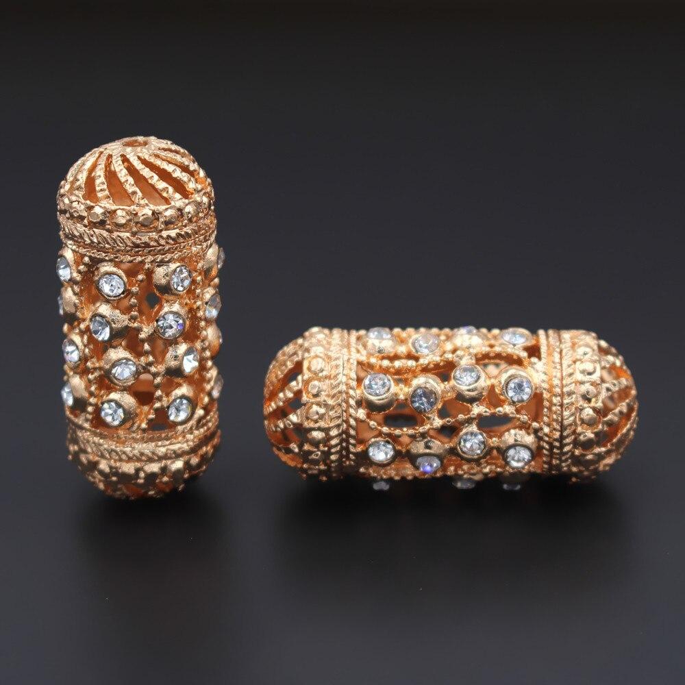 10 قطعة طويلة أنبوب المعادن فاصل الخرز سحر الخرز هول 2.3 مللي متر كريستال معبد DIY مجوهرات النتائج ل دبي الرجال النساء مجوهرات مجموعة