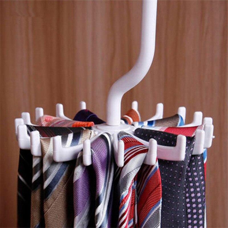 Perchero giratorio de 360 grados para lazos, Perchero de cinturón ajustable, corbatas de gancho para almacenamiento organizador de armario