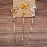 2pcs 40x74mm alloy flower type copper hair fork sticks hair pin hairpin hair wear findings diy vintage jewelry wholesale