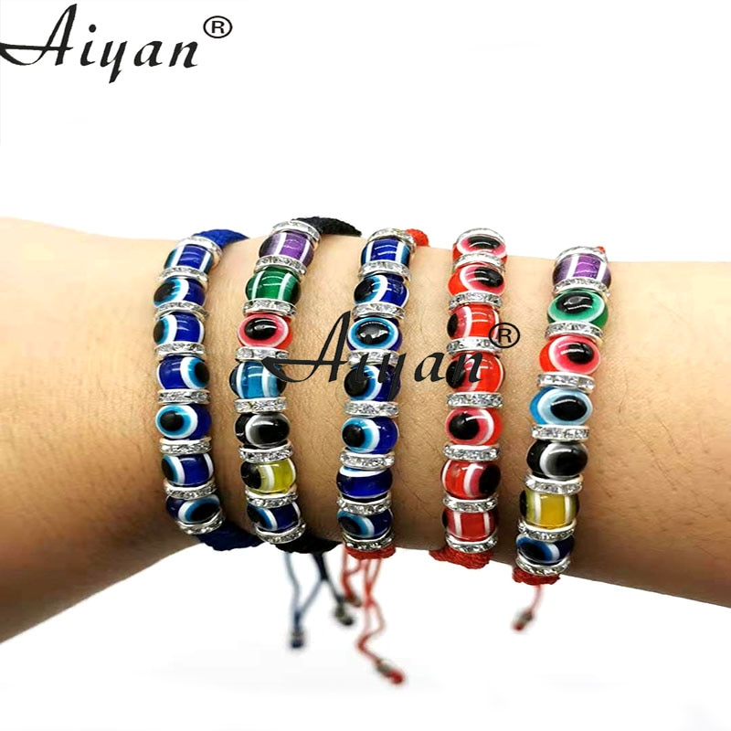 1Pieces Turkish Resin Eye Beads For Men And Women Good Luck Exorcism Thread Woven Bracelets Show Fri