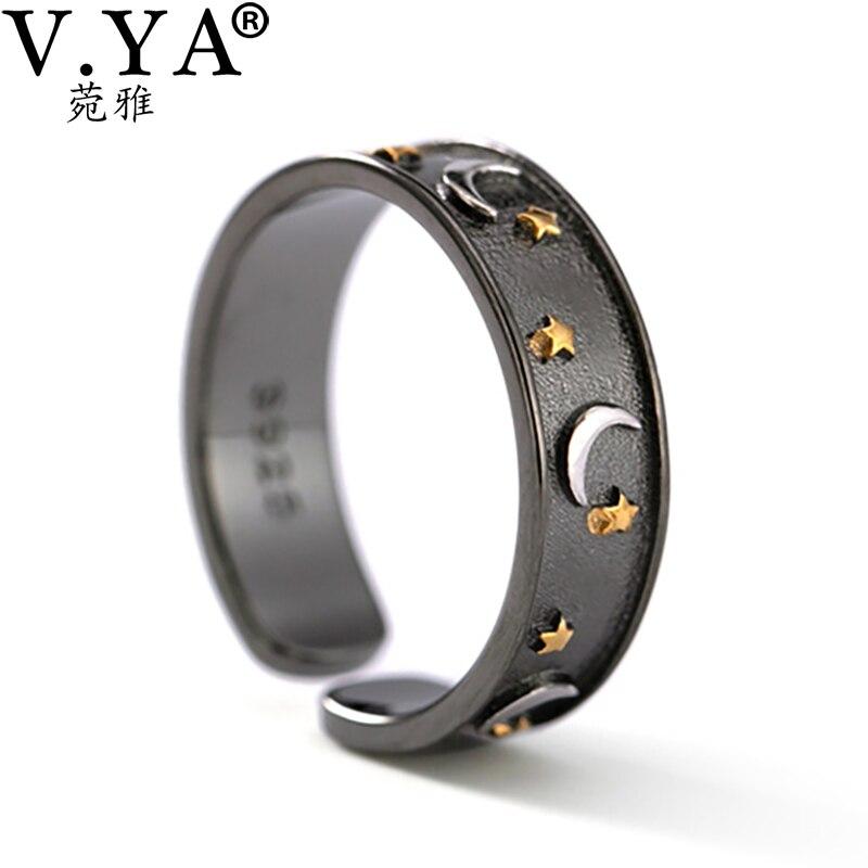 V.YA 925 anillos de plata esterlina bisutería brillante luna estrella dedo anillo romántico negro joyería para mujeres y hombres