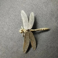 50pcs chinese style copper insect tea pet vintage dragonfly figurines miniatures desktop simulation animal ornaments