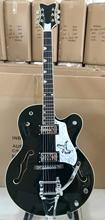 Guitarra eléctrica China OEM powers Custom shop color negro hueco Jazz con Bigsby trémolo