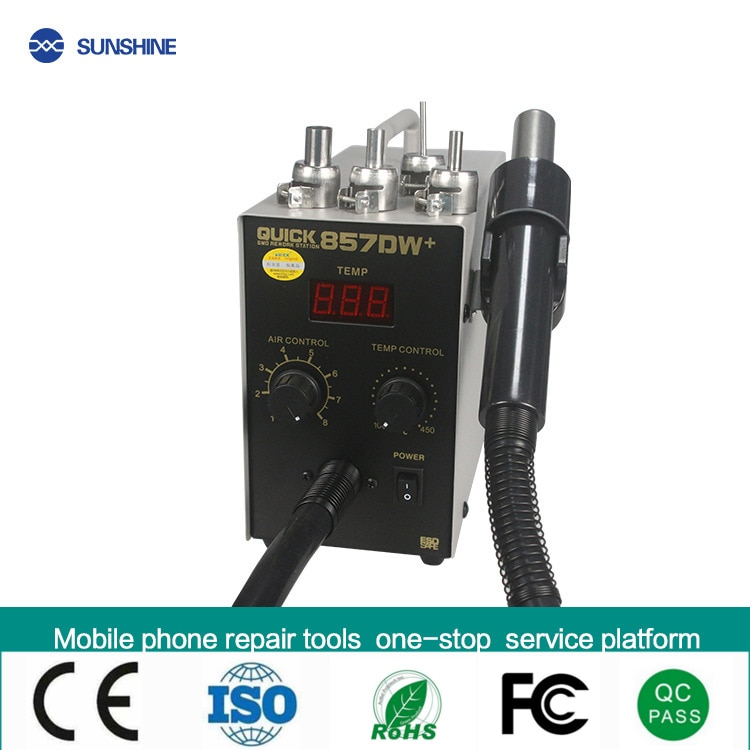 8 Set Quick 857DW+ Soldering Station 580W Adjustable Hot Air Gun Station with Heater Helical Wind Air Gun SMD Hot Rework Station