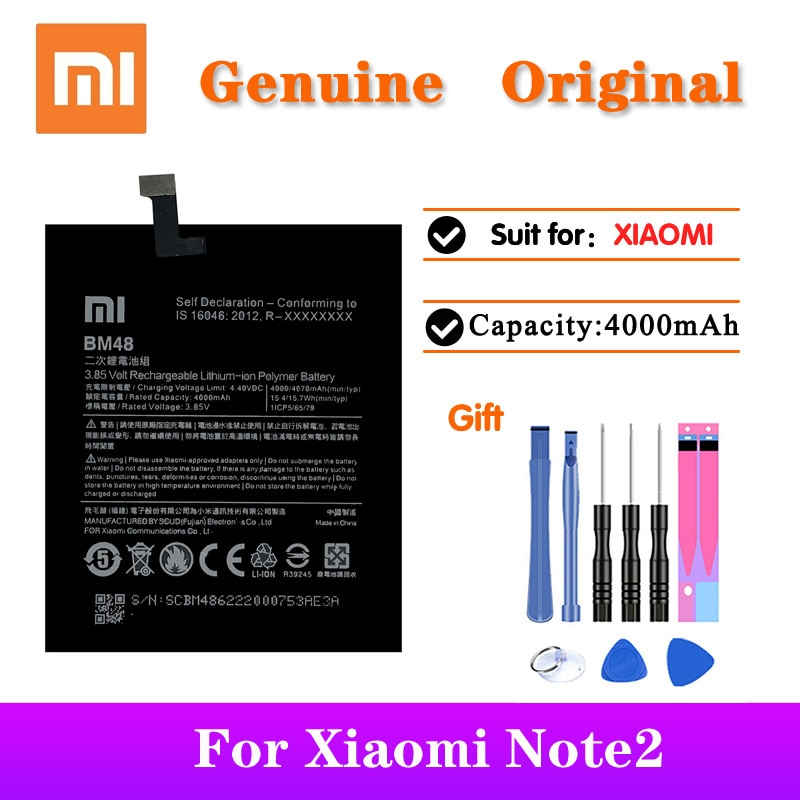 20pcs/lot Newest Original Battery BM48 For XiaoMi Note2 High Quality Replacement Phone Batteries with Repair Tools 4070mAh