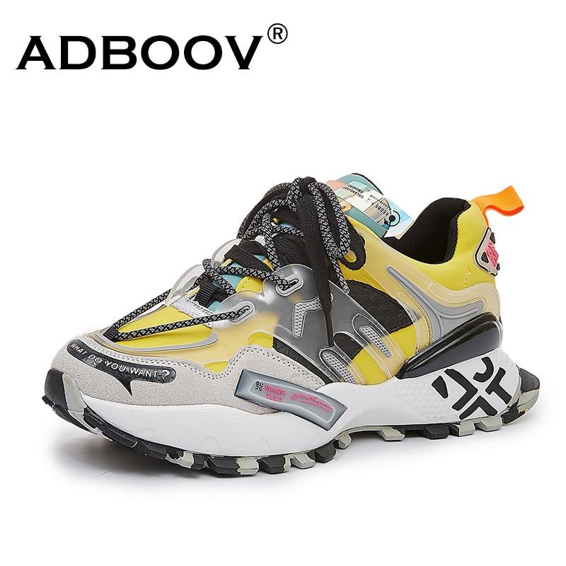 ADBOOV-أحذية رياضية من جلد الغزال الأصلي للرجال ، أحذية سميكة عصرية