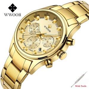 WWOOR Top Brand Luxury Men Quartz Watch Full Stainless Steel Three Eyes Six Pins Chronograph Wristwatch 12/24 Hours Clocks Gift