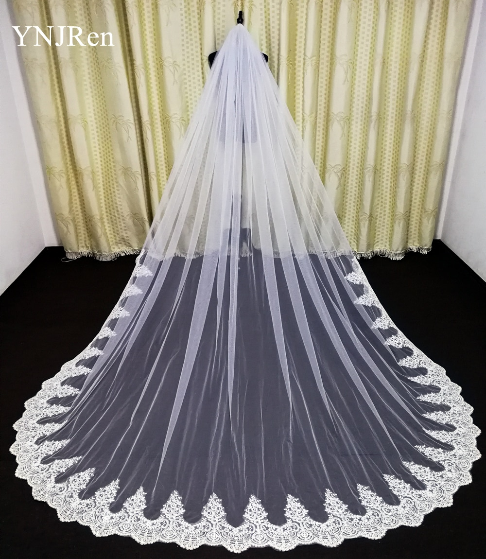 AliExpress - Real Photo High Quality 3-Meter One Layer Elegant Luxury Long Wedding Veil Bridal Veils Sequins Lace Veil with Metal Comb