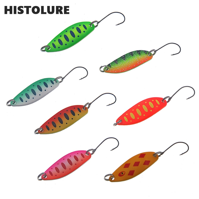 Рыболовные ложки, приманки для форели, 7 шт./лот, 3,5 г, 3,4 см, металлические приманки с одним крюком, рыболовные приманки