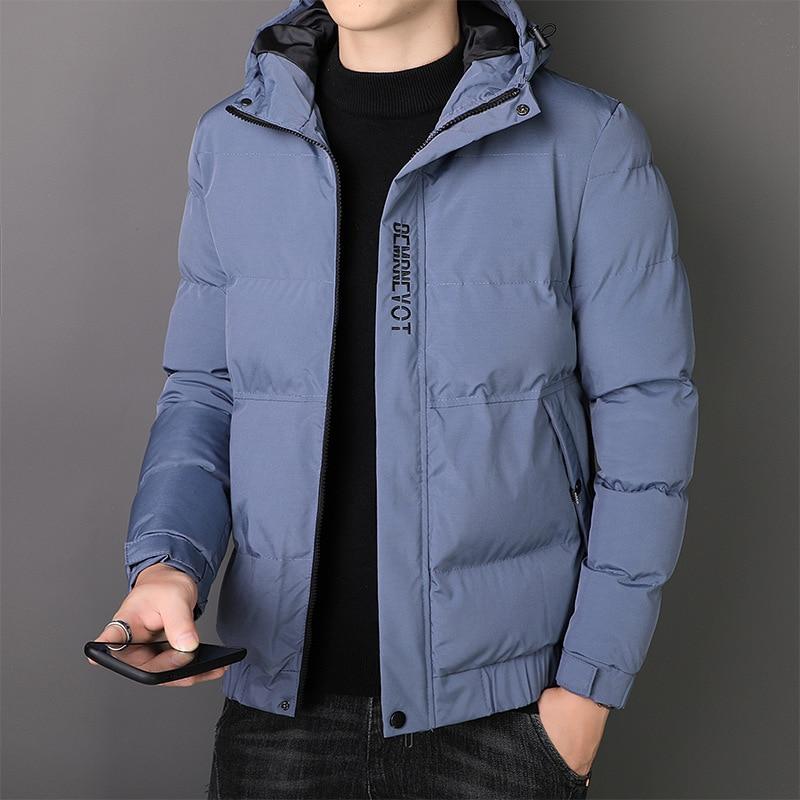 Men Winter Casual Warm Thick Jacket Parkas Coat Men New Winter Outwear Windproof Hat Parkas Jacket M