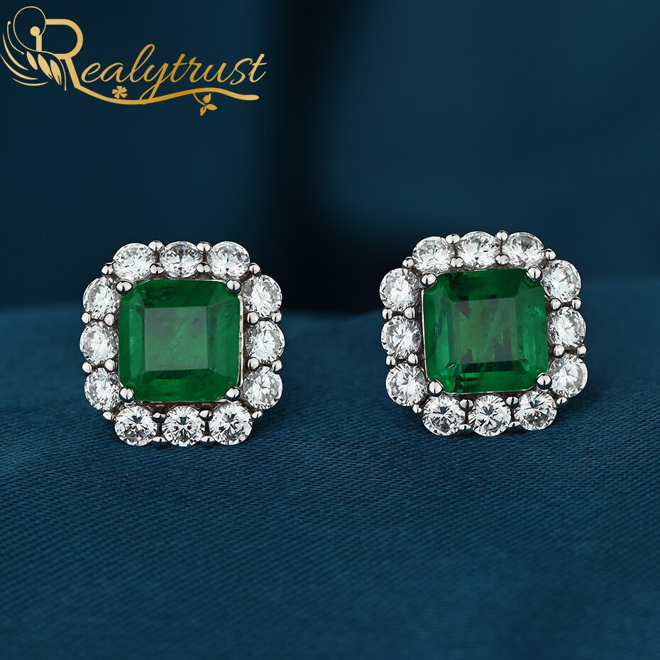 Realytrust Solid 925 Sterling Silver Created Green Emerald Stud Earrings for Women & Girls Fine Jewe